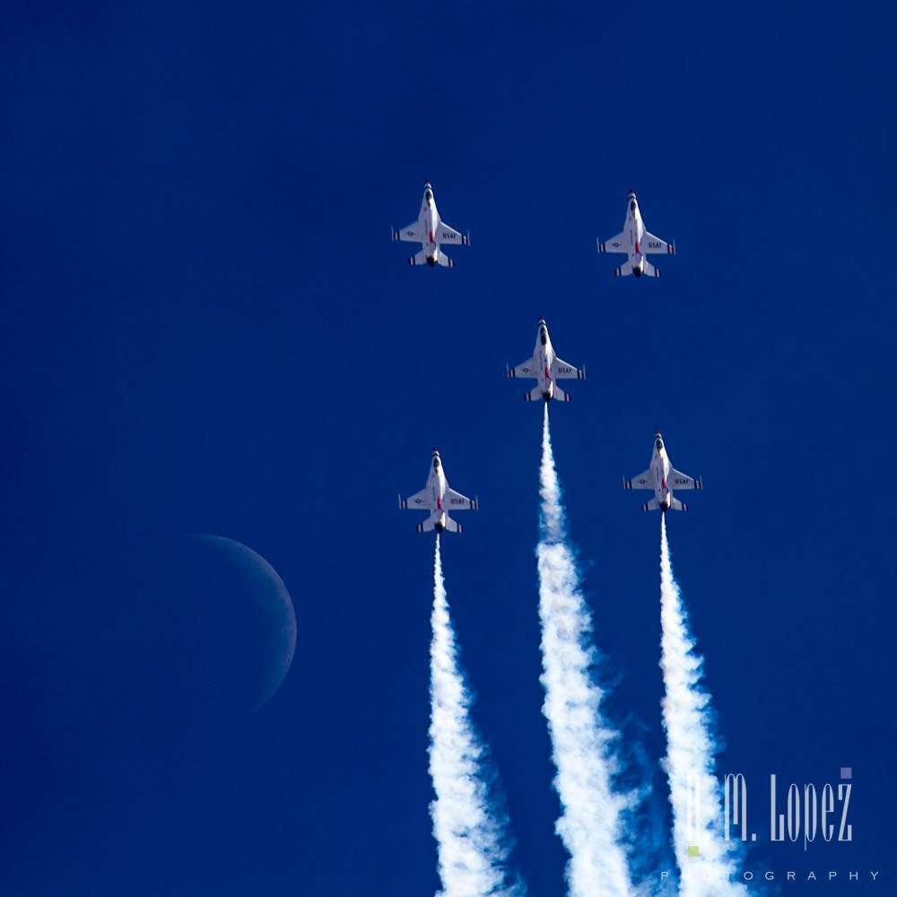 h.m. lopez photograph, us air force thunderbirds moon