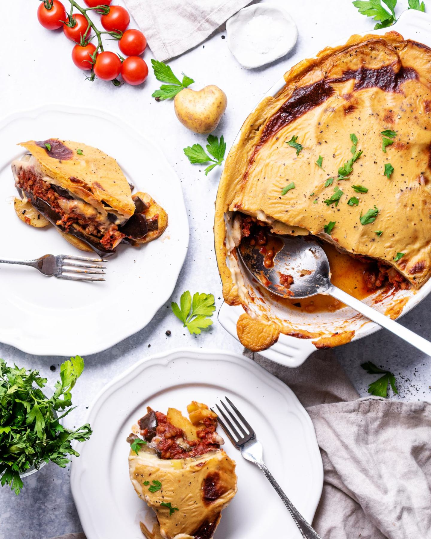 Healthy vegan lentil moussaka