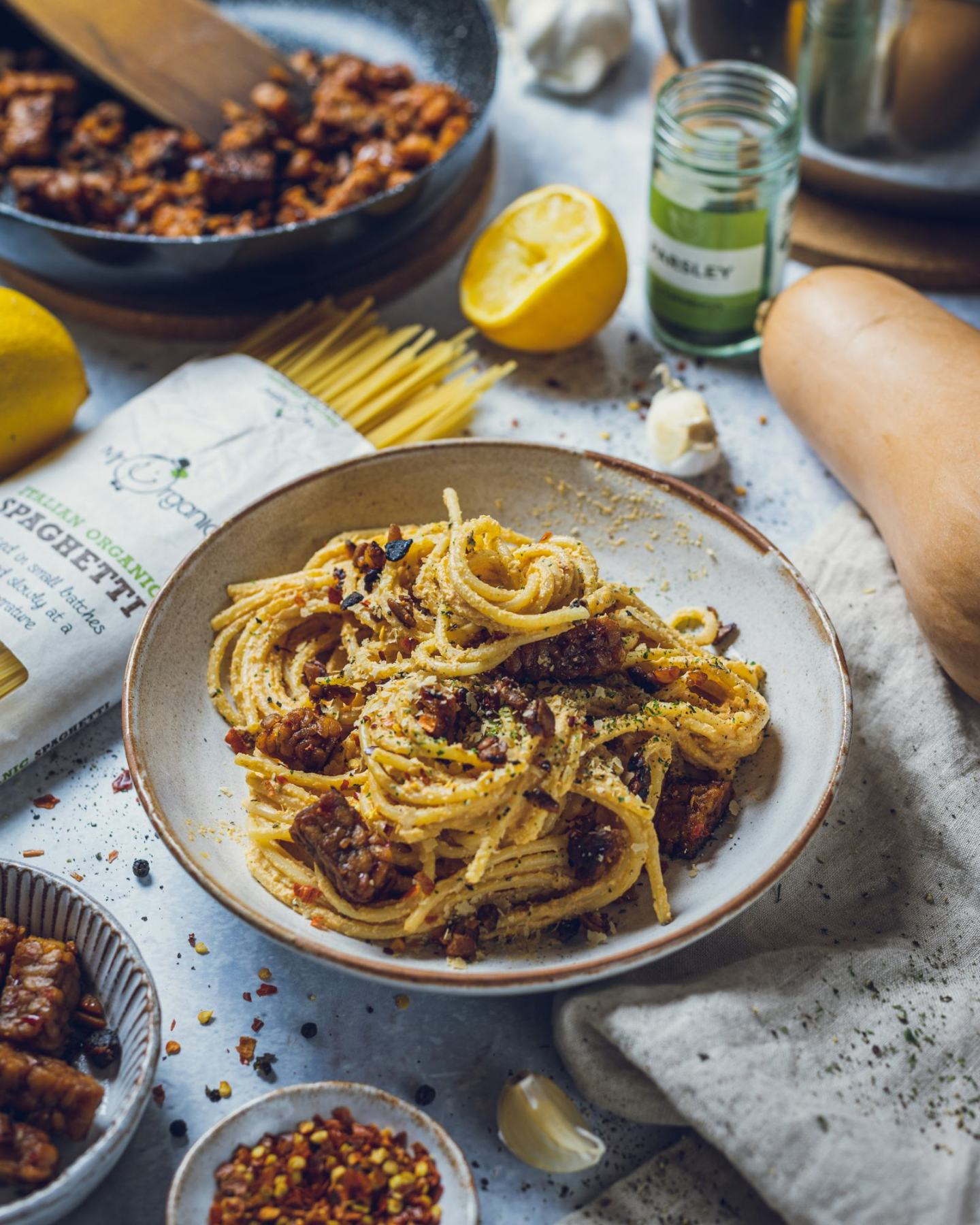 Roasted Butternut Squash Spag n Cheese