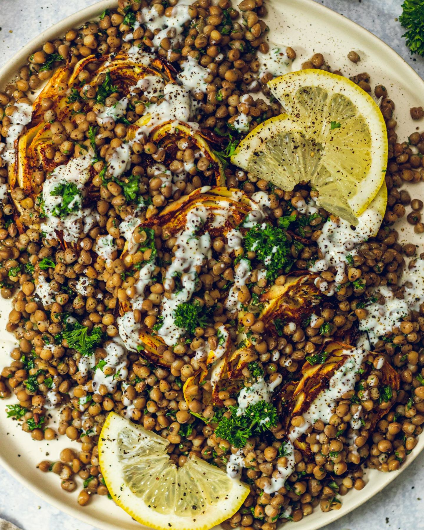 Roasted Cabbage Wedges with Lentils