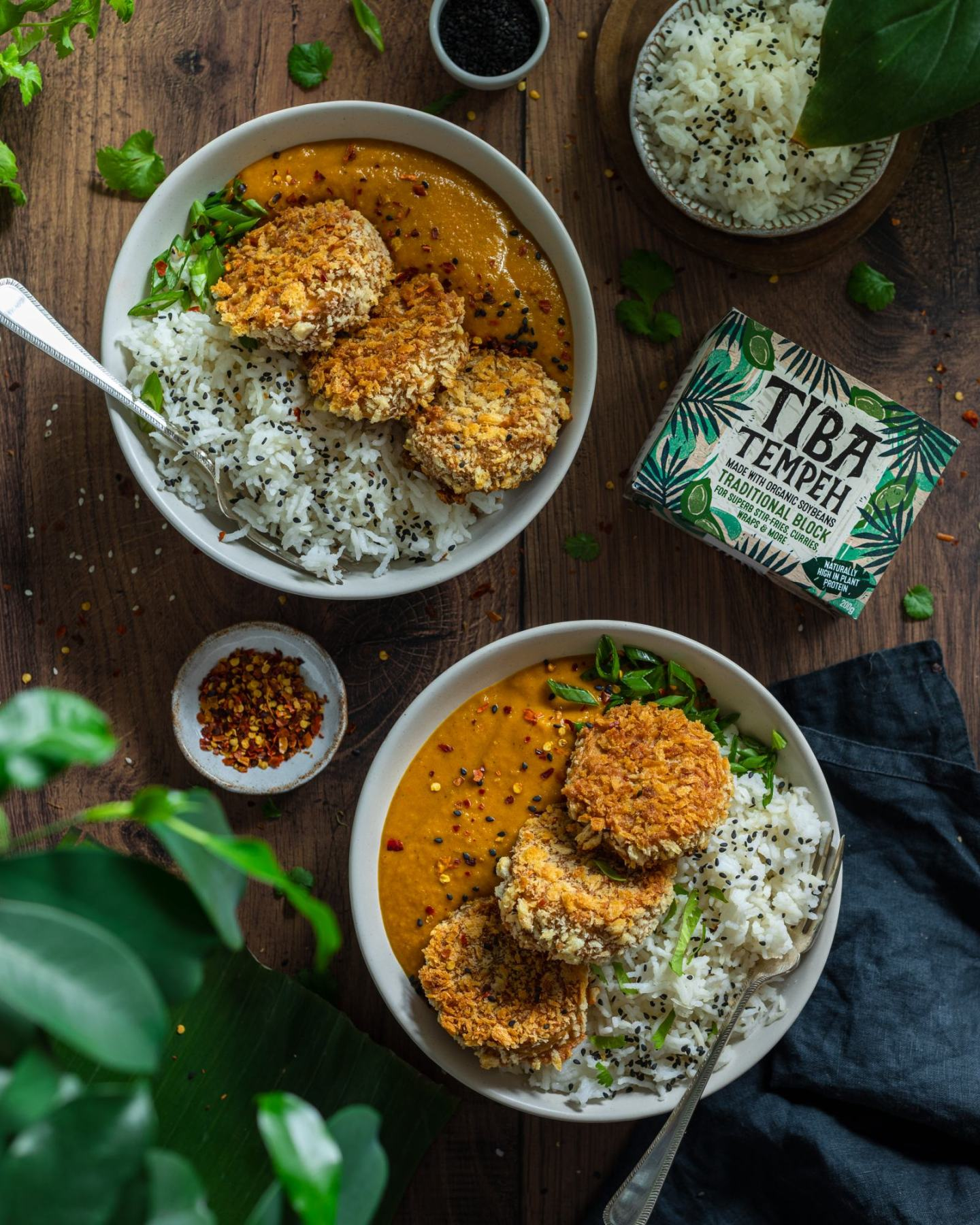 Vegan Katsu Curry with Tempeh - two bowls on a dark backdrop, rice and katsu sauce on each bowl with a fork, crunchy fried tempeh discs on the top (3 on each plate), tiba tempeh packaging placed besides the bowls