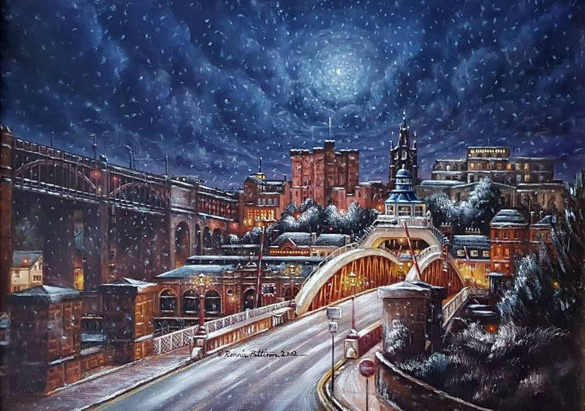 Swing Bridge Oil Painting