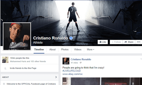 Resultado de imagem para cristiano ronaldo facebook page