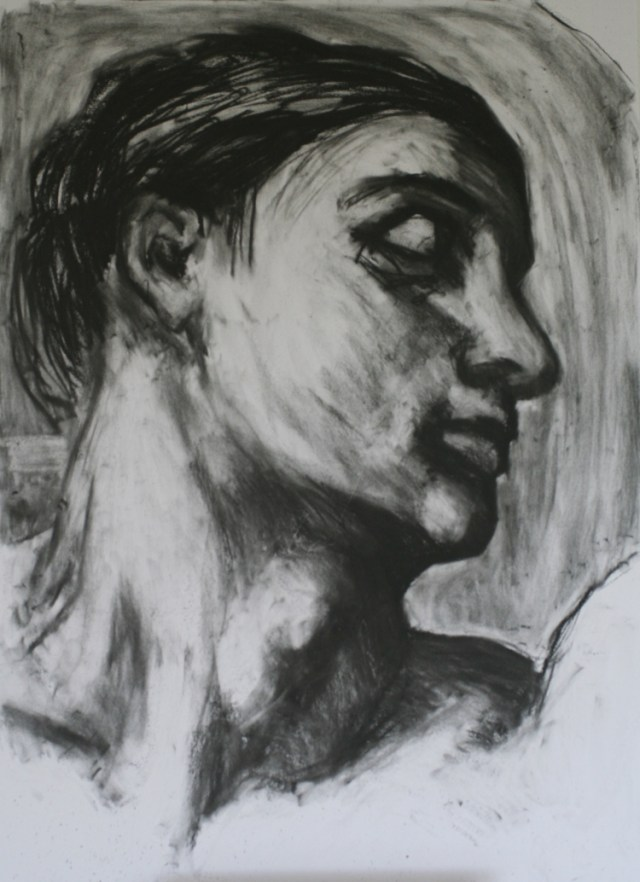 'A D A M' - after Michelangelo's dipiction of Adam in the Sistine chapel - charcoal on paper - 2012