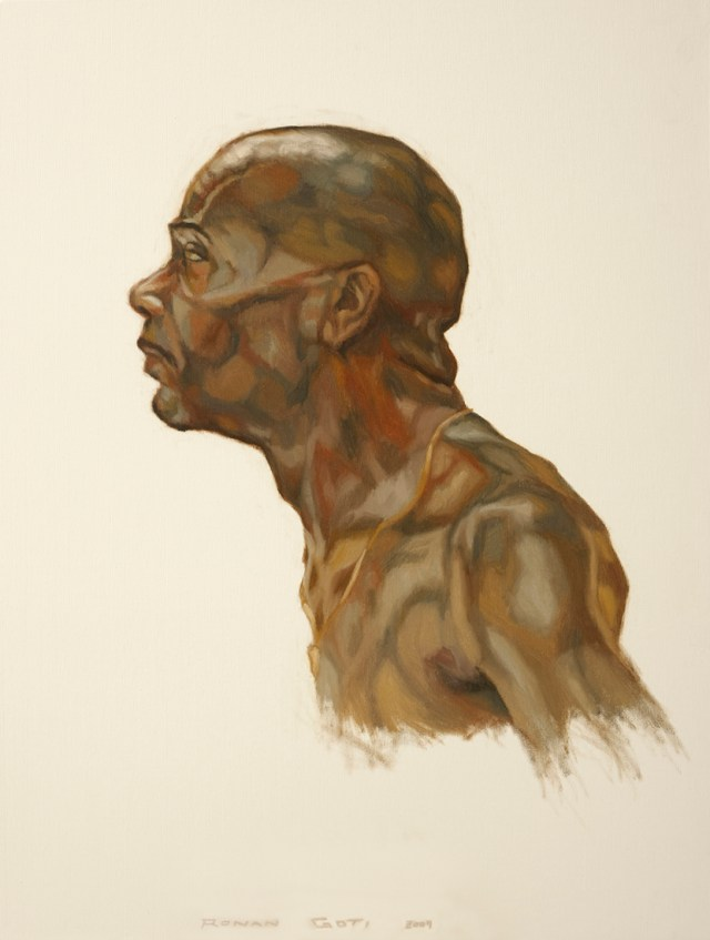 A paint study of the divisions of shape and colour within a man's head, neck, shoulders and chest - Oil on canvas on thick board