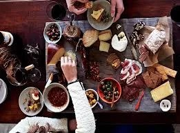 charcuterie board provides a tasty spread