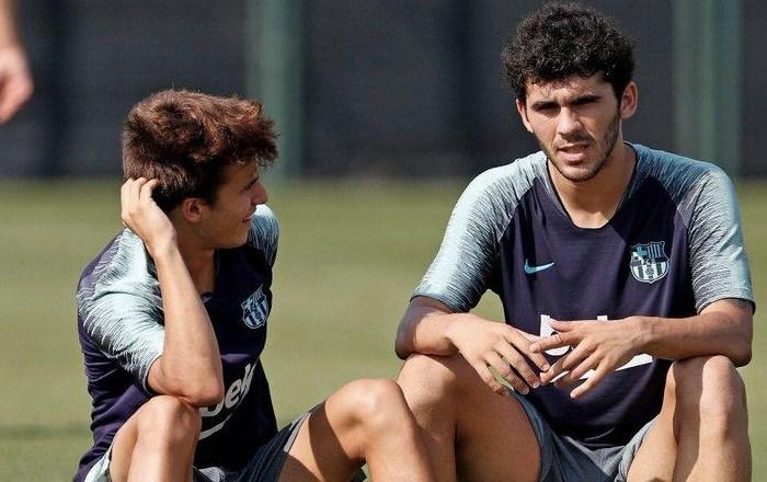 Aleñá y Riqui Puig, en un entrenamiento con el primer equipo de la temporada pasada