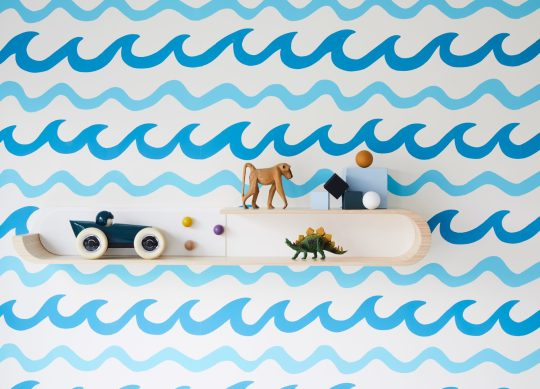 Aimee Wilder waves wallpaper with Rafa Kids shelving