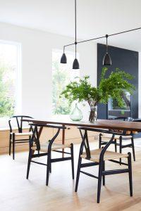 Dining Room hans wegner wishbone chairs apparatus light beach house