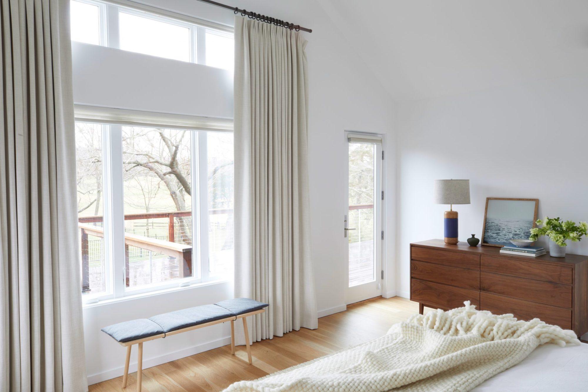 Master Bedroom terrace linen drapery
