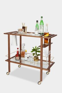 handcrafted walnut bar cart
