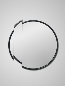 Split mirror wall mirror for bathroom with black frame