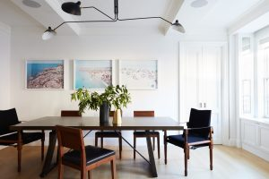 Ronen Lev Dining Room with Serge Mouile light