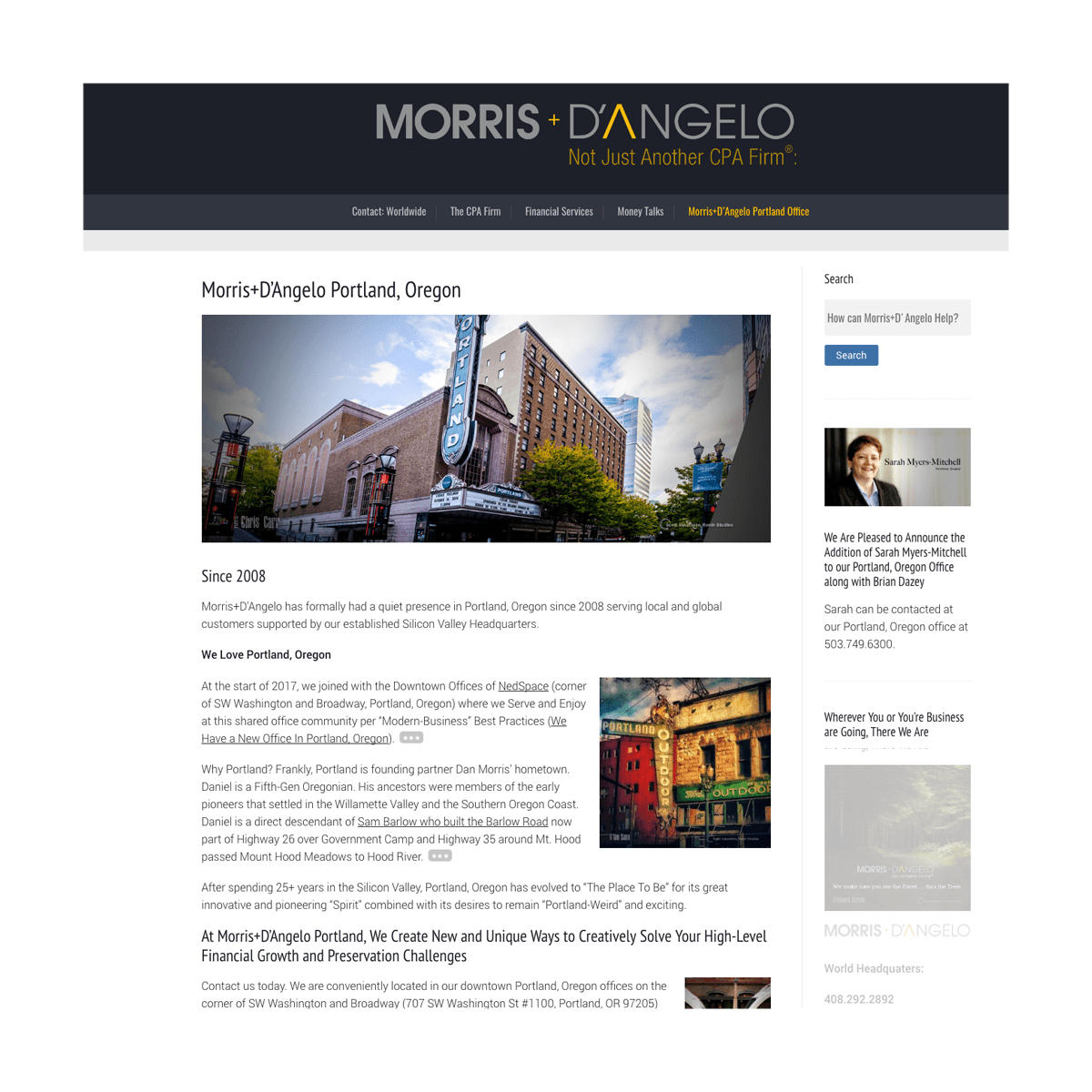 Daniel Morris, Portland, Oregon Morris+D'Angelo, Morris and DAngelo, CPA, financial services frim