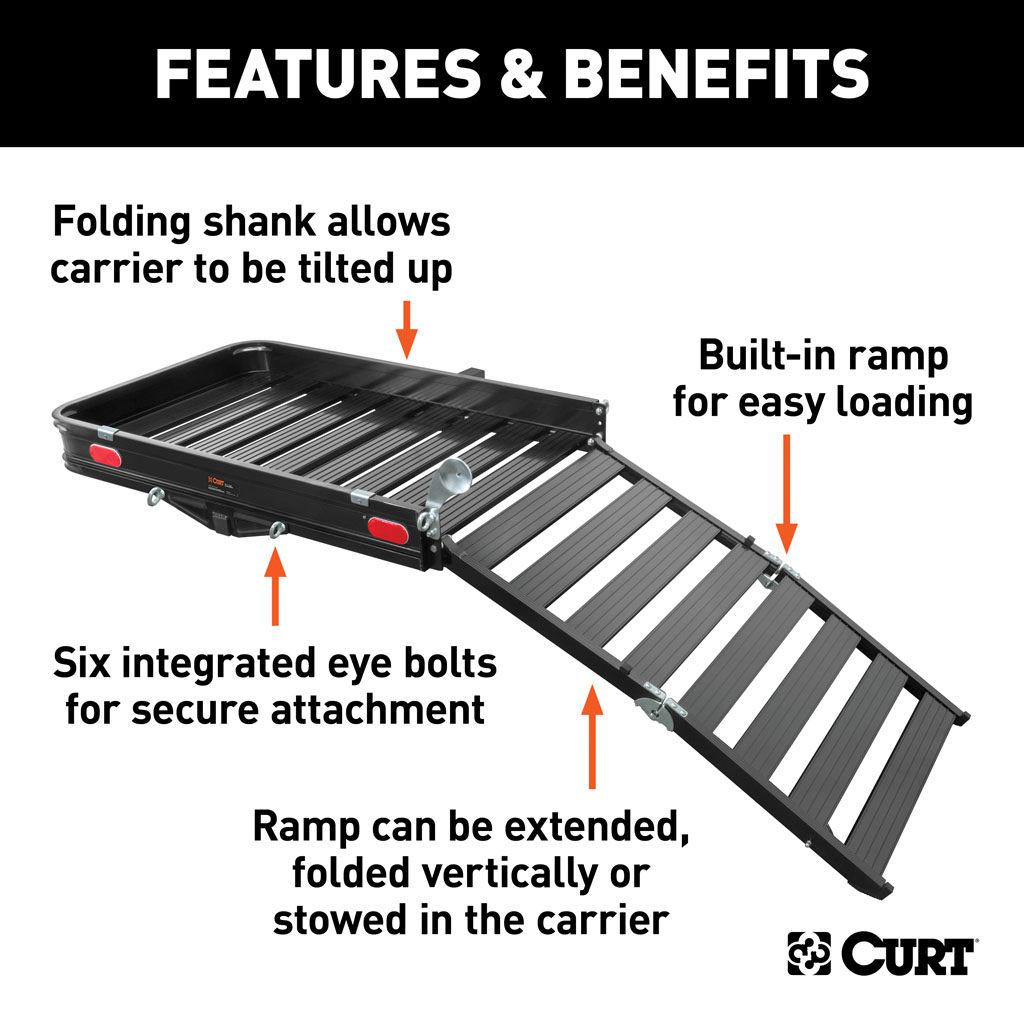 curt 50 x 30 1 2 aluminum hitch cargo carrier with ramp 18112