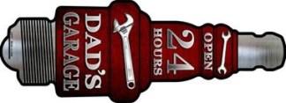dads garage metal spark plug sign