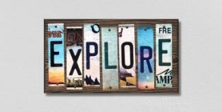 explore wood license plate sign