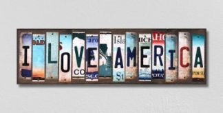 i love america license plate sign