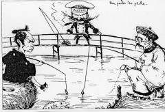 風刺画といえば…教科書に出てたこれ…魚(朝鮮)を釣り上げようとする日本と中国(清)、横どりをたくらむロシア