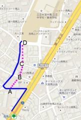 青線が歩いたところ、赤線が廃線跡