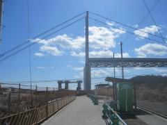巨大な解体中のつり橋