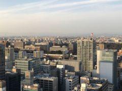 遠くに名古屋城が見える