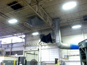 Interior damage from roof leak