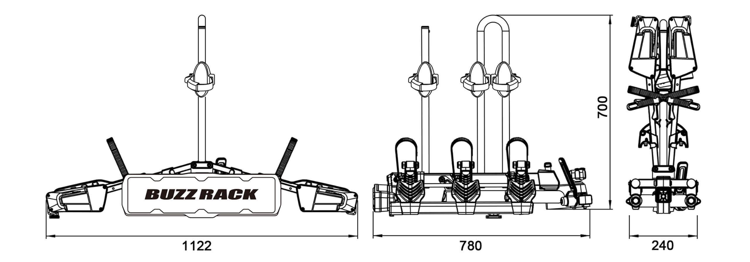 Buzz Rack Eazzy 3 Bike Folding And Tilting Rack No Brp723