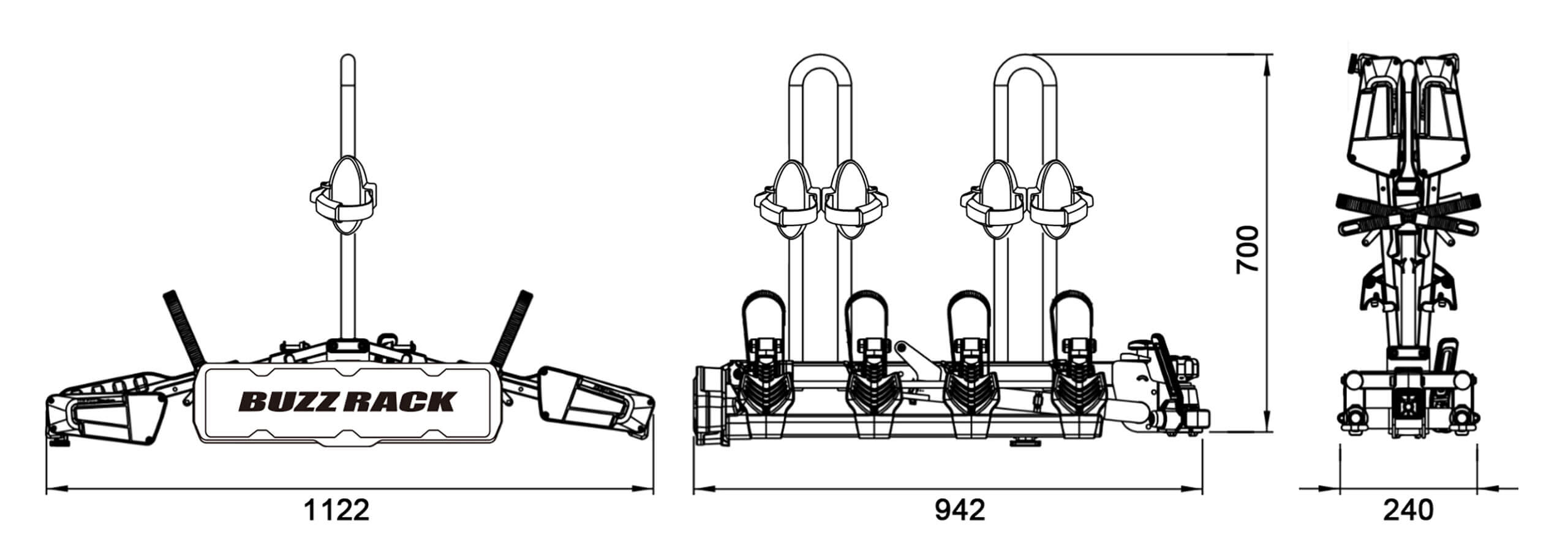 Buzz Rack Eazzy 4 Bike Folding And Tilting Rack No Brp724