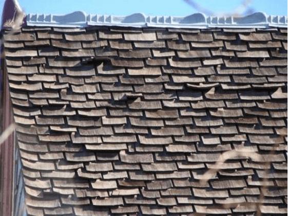 Damaged wood roof
