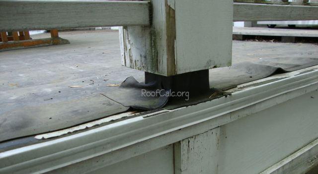 Flat Roof Rubber Deck - Post Flashing leak