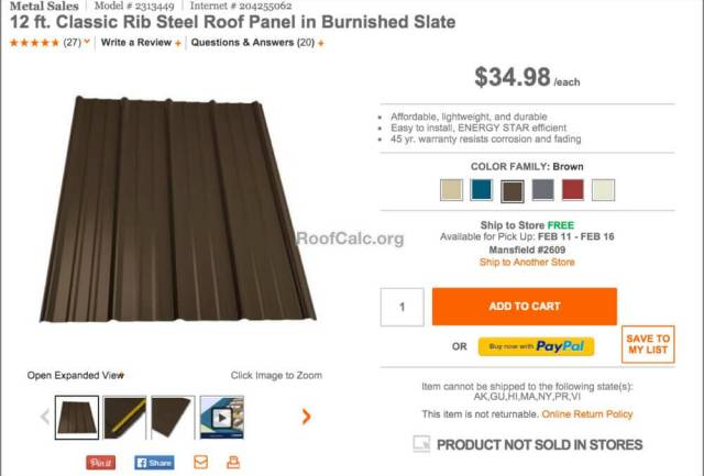 Prices for Home Depot metal roof panels