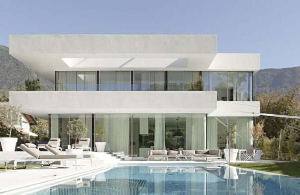 White TPO on a modern home