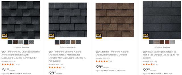 Prices for asphalt shingles at Home Depot
