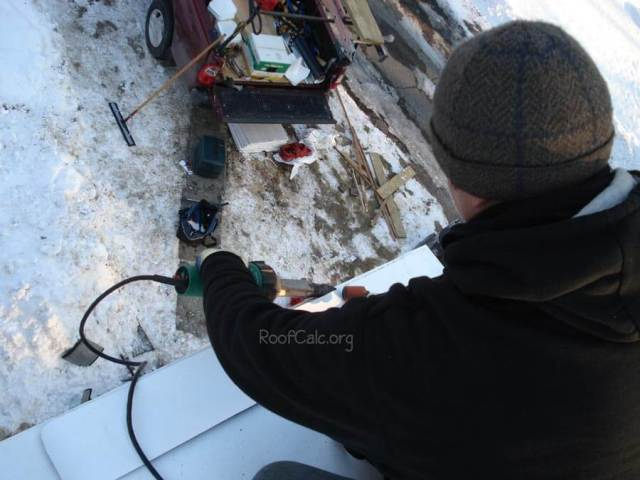 Welding IB PVC roof in the winter