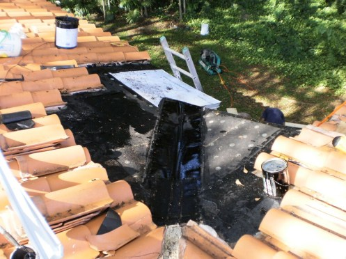 Clay Tile Roof Repair In Miami, florida - In Progress