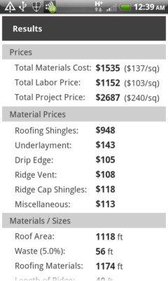 Image of Roofing Calculator app results screen