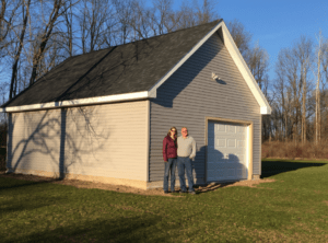 George and Rebecca Fischer built a 560-square-foot workshop and storage building, which includes an attic area to maximize the storage space.