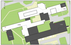 "FIGURE 4: A map of the buildings in the Princeton field study. SOURCE: ""The joint influence of albedo and insulation on roof performance: An observational study"""