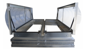 The smoke vent is designed with two thermal triggered hatches that automatically open up in the event of a fire.