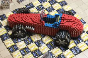 The Monsters of Metal built a 1969 vintage race car for the canstruction competition, paying tribute to Nazareth Speedway.
