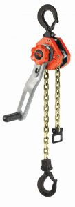 The ratchet lever hoist features a 360-degree rotating lever and a fold-out revolving handle.