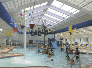 A commercial skylight provides more daylight and improves an indoor recreational setting. PHOTO: Structures Unlimited