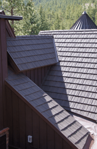 The stone-coated metal roofing system is designed to give the appearance of wood shake but has a Class A fire rating, a 2 1/2-inch hailstone warranty and a 120-mph wind warranty.