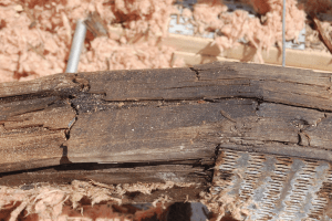 Photo 2a: Condensation in wood structures doesn't result in good things. Note the deterioration of the wood trusses and their structural failure.