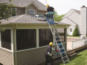 Ladder hoists can easily transport up to 400 pounds of materials to high rooftops.