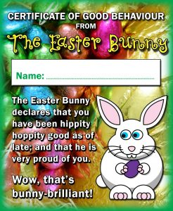 Easter bunny certificates rooftop post printables negle Images
