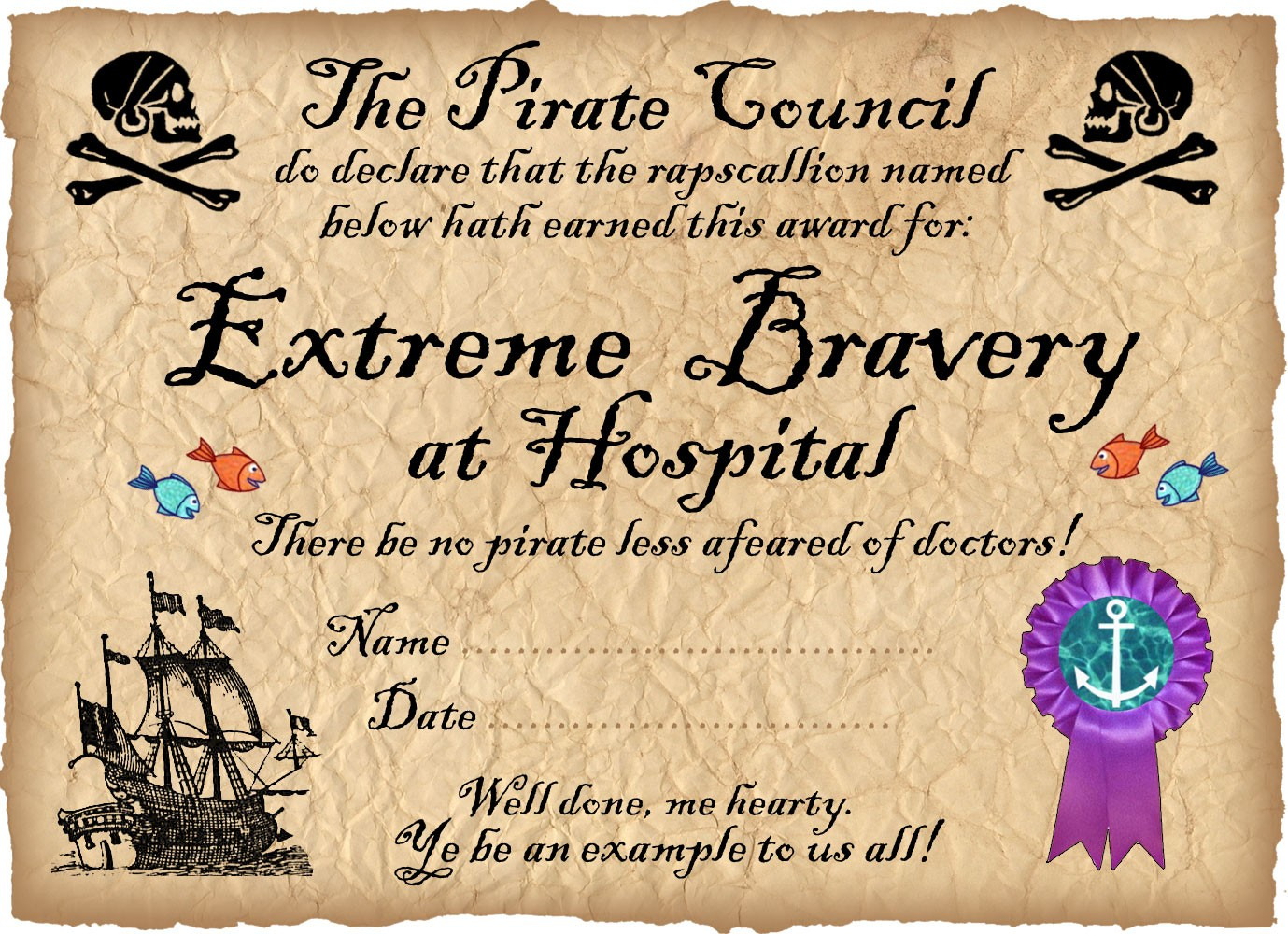 Pirate Certificate Award For Bravery In Hospital