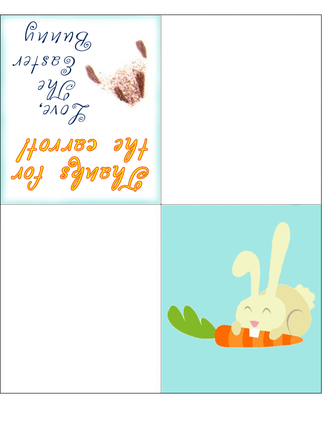 Easter Bunny Four Fold Card Thanks For The Carrot