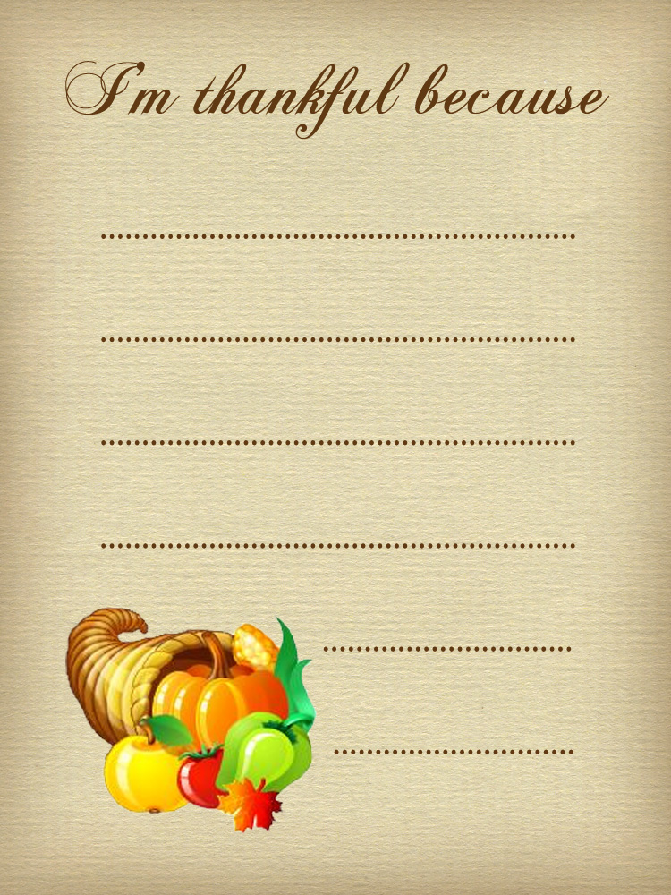 Thanksgiving Note Thankful Because Rooftop Post Printables